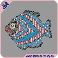 Cartoon Fish rhinestone transfer &glitter custom designs Crystal iron on Hotfix Motifs for Baby Dress
