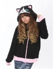 Uniway Black Cat Kigurumi Hoodies Fleece Zip Hoodie With Animal Head Adult Hooded Jacket