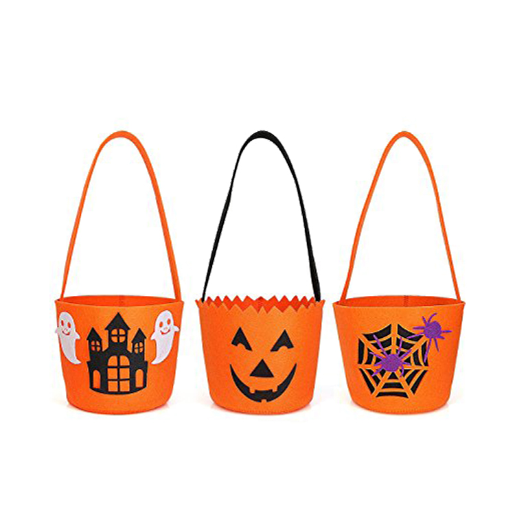 Pumpkin Shape Felt Candy Halloween Buckets Gift Basket