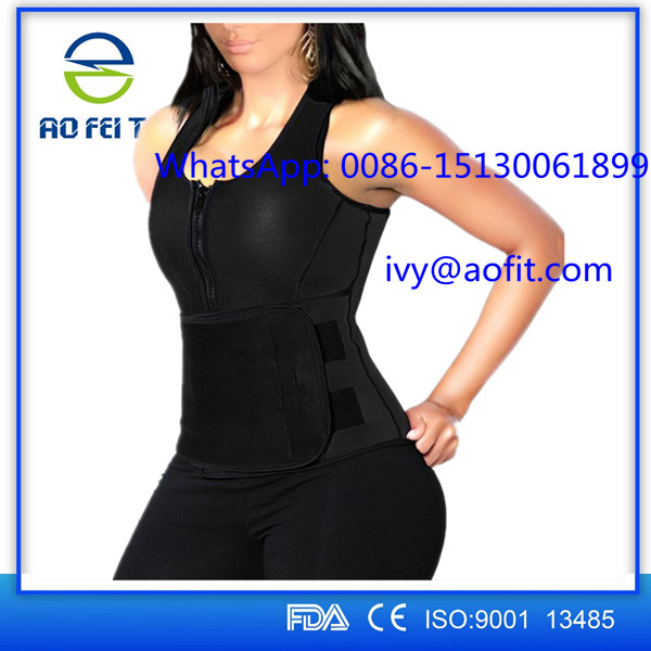 New Design Women Zipper Neoprene Waist Trainer Vest Corset with Shaper Girdle