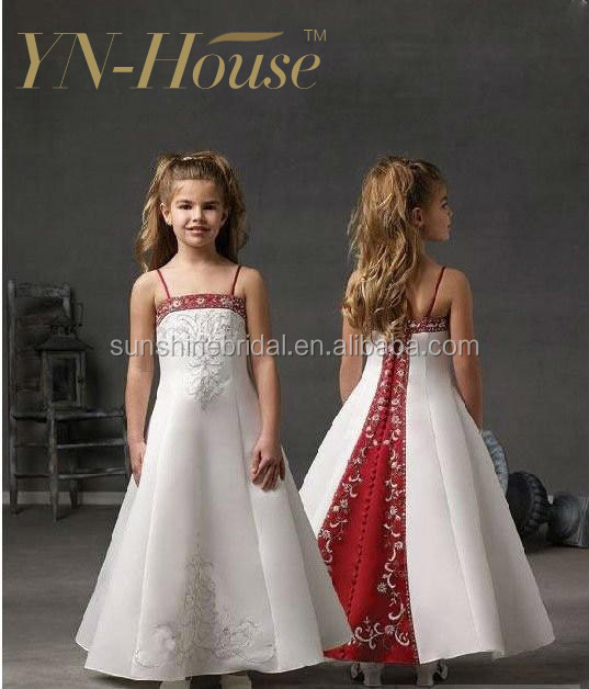 Cute Little Girl Dresses for Wedding Spaghetti Strap Red And White Flower Girl Dresses with Embroidery Beadings Long Custom Made