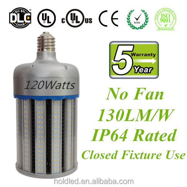 E39 DLC Approved LED Corn Bulb 120W IP64 Aluminium driver box for outdoor use