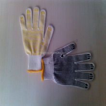 pvc diotted cotton glove/economy cotton canvas glove with black pvc dot palm