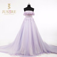 Fantastic Off Shoulder Purple A Line