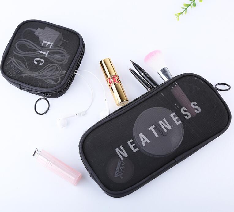 2018 new design cheap price black nylon mesh cosmetic bag