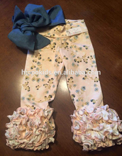 Newest design toddle girl icing leggings wholesale girls ruffle pants girls triple ruffle pants