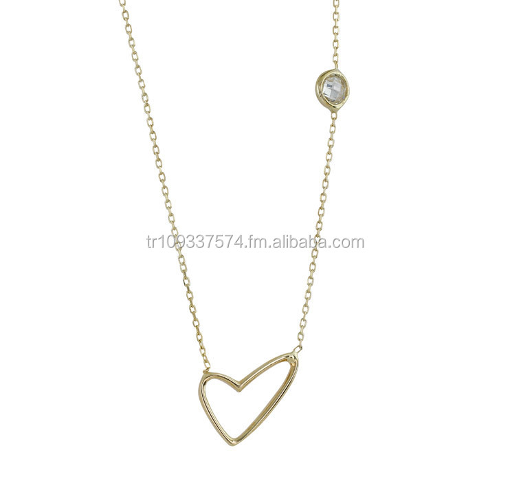 14K Solid Gold Love Heart Light Rose Cut Zircon Charm Necklace