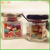 Cute glass candy jars crystal glass jar with metal lid