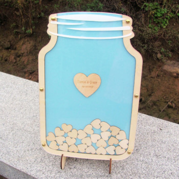 Gold supplier wooden guest book wholesale