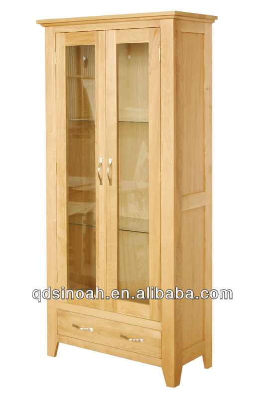 solid oak wooden 2 windows antique display cabinet