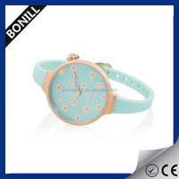 Elegant slim silicone sport branded watches for girls,diamond luxury rose gold watch