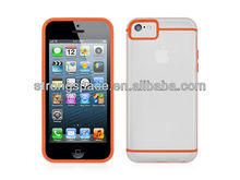 High Quality Transparent Clear TPU+PC Case for iPhone 5c
