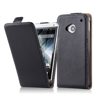 Premium Luxury Commercial Flip Genuine Leather Phone Case Cover For HTC One M7