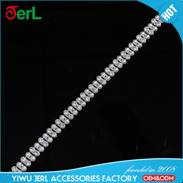 Newest sale trimming roll fashion rhinestone trimming plastic pearl