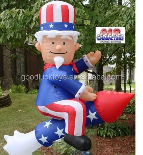 6ft Patriotic Uncle Sam on a Rocket 4th of July Airblown Inflatable Yard Decor