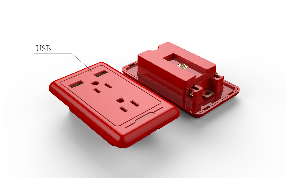 Our patent FCC Listed 15A/125V American electric socket with 2 USB/usb wall socket/american /Canada 2 gang socket