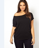 Women Plus Size Black and White Exclusive Off Shoulder T-Shirt for Wholesale Haoduoyi