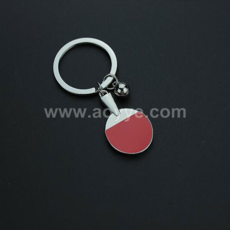 Lasest design commemorative gift metal key chain fashion table tennis keychain