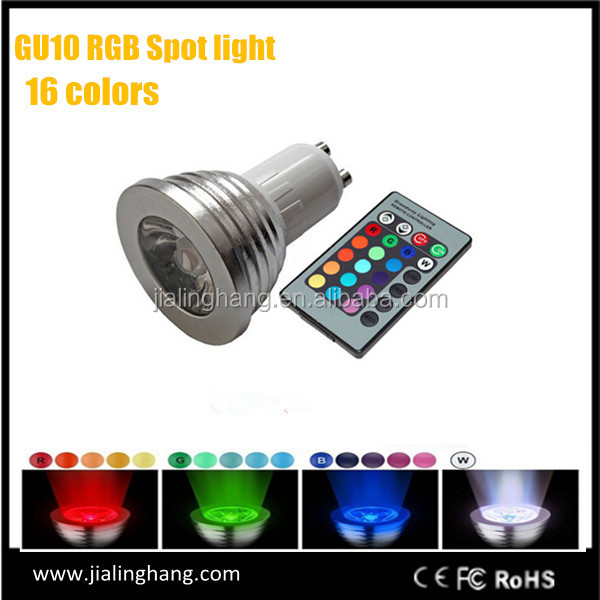 GU10 RGB LED Bulb light3W Remote Control 16 Color Changing Light