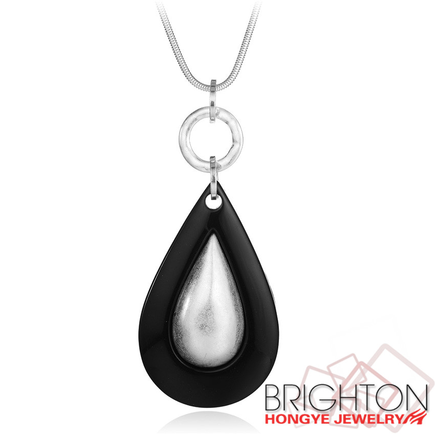 YIWU Brighton new hot style White with black pendant necklace,2017 saudi Brushed silver gold jewelry necklaces n7-10882