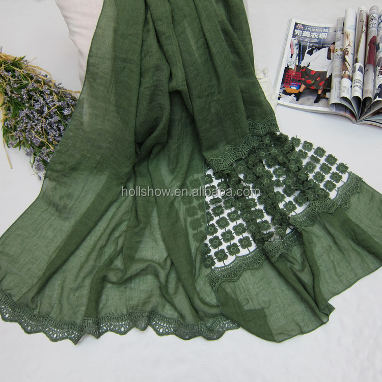 Japan & Korean New Style Thicken Cotton Linen Scarf Hook Flowers Women Lace Tudung