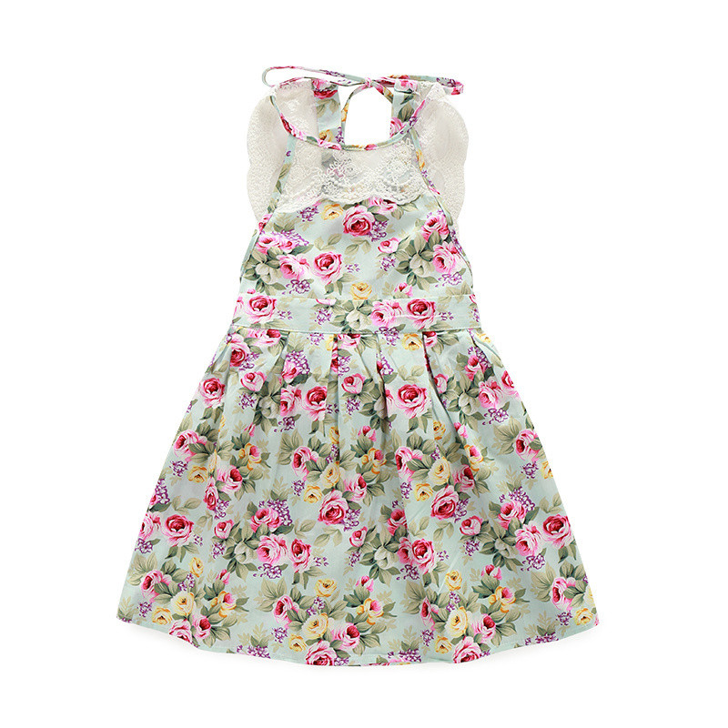 Factory price boutique children baby girl dress high quality lace floral sundresses