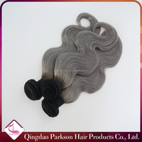 Cheap two tone hair extensions gray hair ombre body wave Brazilian virgin grey human hair for braiding