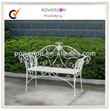 elegant folding white metal bench for garden