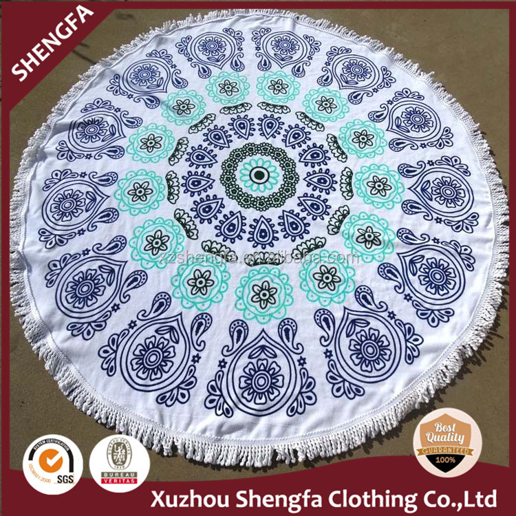 High quality custom 100% cotton mandala round beach <strong>towel</strong>