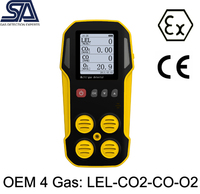 LEL CO2 CO O2 OEM Portable Multi 4 Gas Monitor