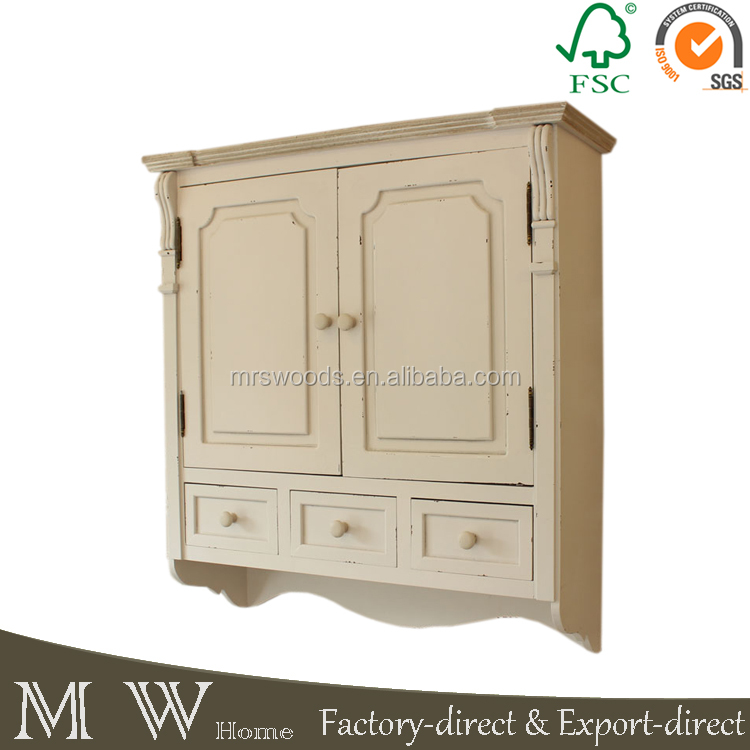 cream kitchen cabinet wall mounted cupboard, shabby chic cupboard with drawers, wall mounted cupboard