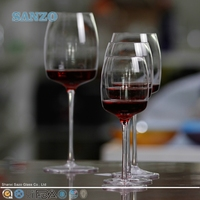 SANZO Art wine glass with wrapping lines and hand painting