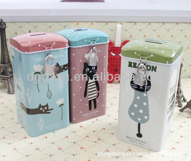 Rectangular Printed Coin Bank Tin