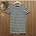 Nice model lady stripe cotton dress summer short sleeve knit soft cotton dresses