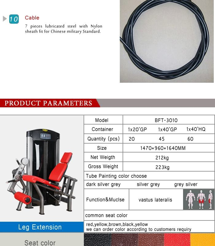 BFT-3010 Gym Strength exercise leg extension hydraulic machine seated leg extension for club