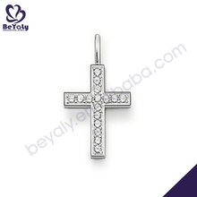 Modern chic cz inlaid jewelry set thick cross silver necklace
