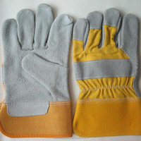 quality split cowhide hard work genuine leather garden mechanic work gloves