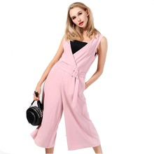 ladies new fashion jumpsuit pink color sleeveless designs for women factory manufacture