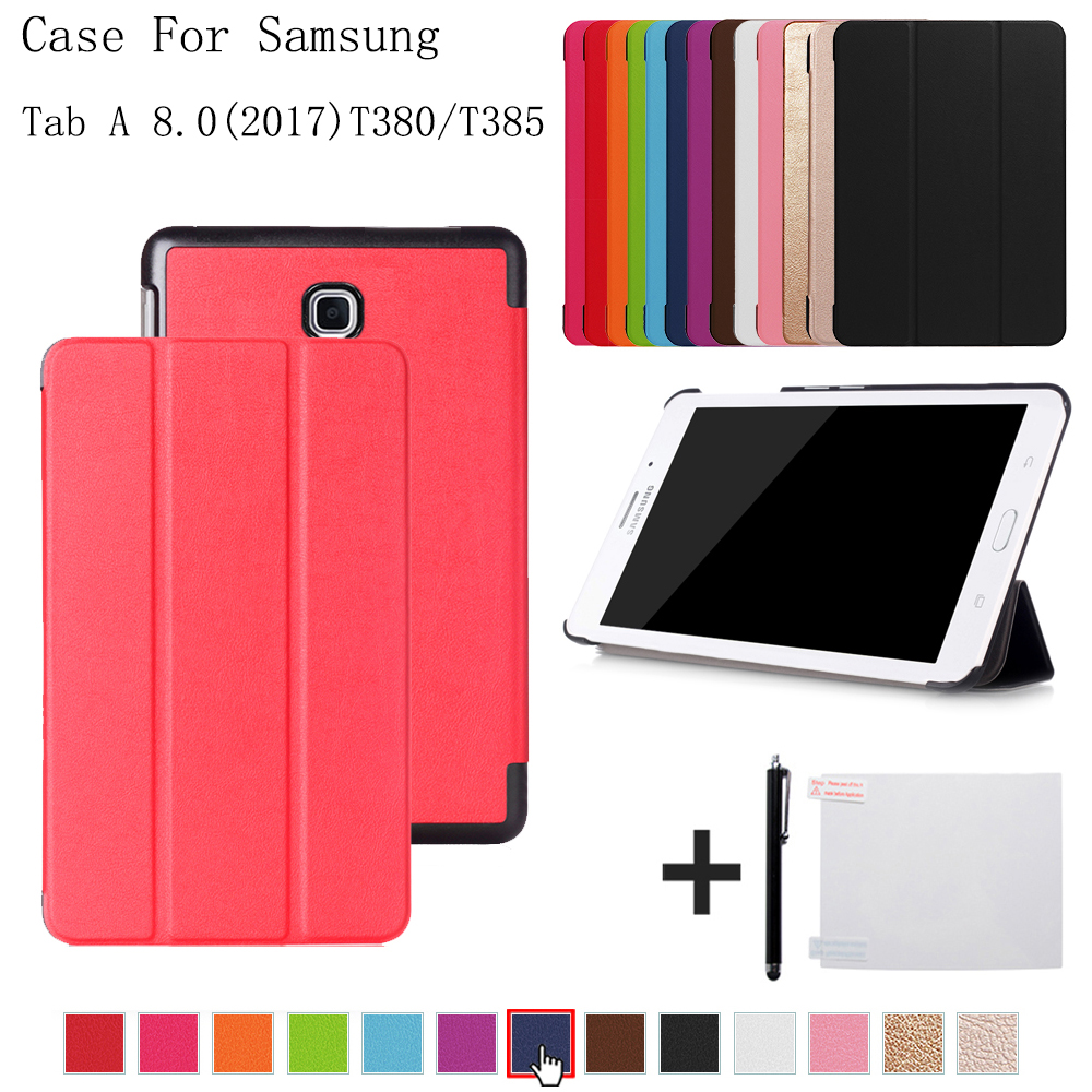 Ultra Slim Magnetic Case for Samsung Galaxy Tab A 8.0 T380 T385 2017 8.0 inch Smart Cover Funda Tablet PU Stand Case