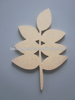 2016 wood piece plain carved MDF leaf home decorations