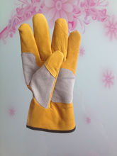 yellow leather work gloves , AB/BC double palm and reinforced pig leather working gloves manufacturer in China