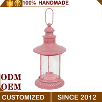 European Style Metal Home Decorative pink Candle Lantern