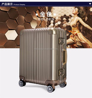 Aluminum luggage trolley case business boarding luggage trolley case , carry on luggage travel suitcase