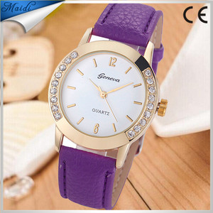 2015 New Fashion Geneva Crystal Watch Jelly Gel Leather Girl Women's Quartz Wrist Watch Candy Colors dress Watches GW020