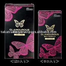 Japan sex delay condom 'GLAMOUROUS BUTTERFLY HOT' --- outside top jelly-coated --- 12p & 6p