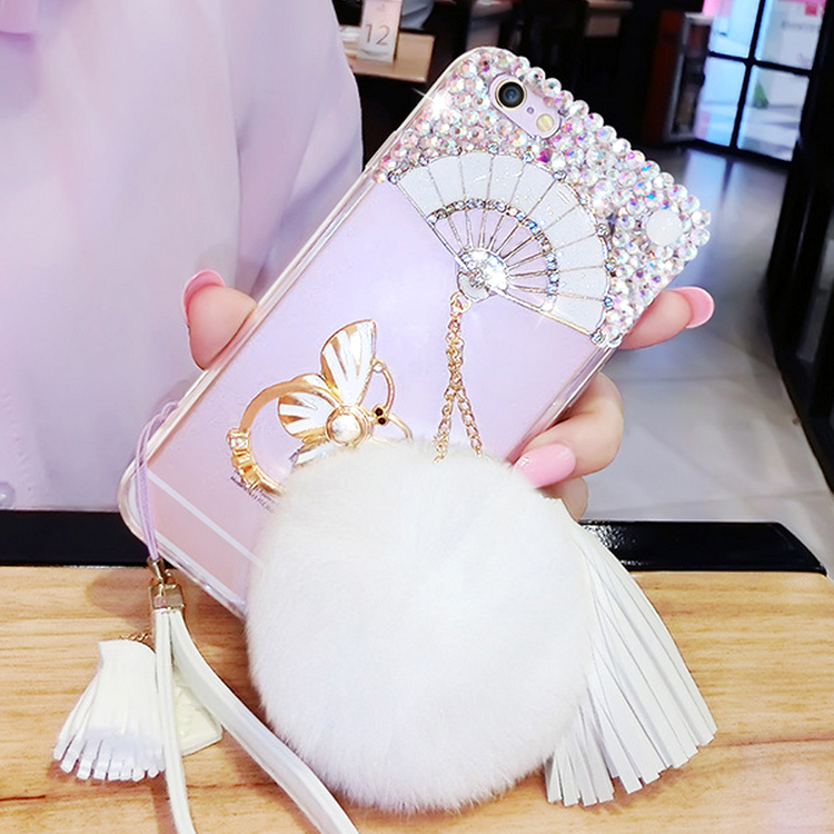 Bling Light Weight Plastic Diamond Cell Phone Case For Apple Iphone 5/6 plus ,Back Cover For Xiaomi Mi5 Case