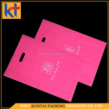 Wholesale OEM/ODM service pink pattern patch die cut handle polyethylene plastic bag.plastic carry bag