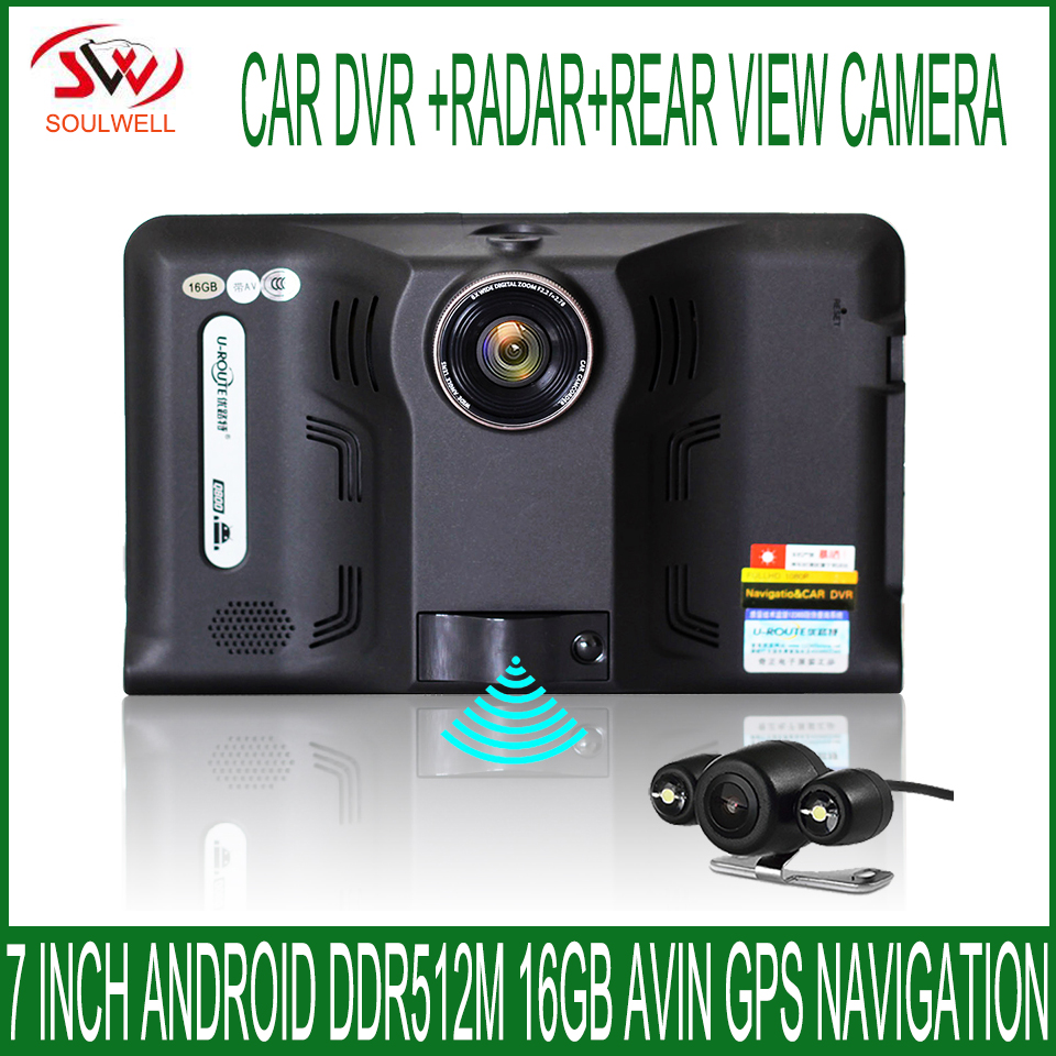 7 inch DDR 512M 16GB Android radar detector dual lens car dvr with GPS Navigator