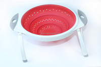 kitchen silicone collapsible foldable flexible basket colander strainer with handles ears stands legs for vegetable fruit