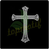 Classic Cross symbol crystal stones for clothing,Clear rhinestone motif